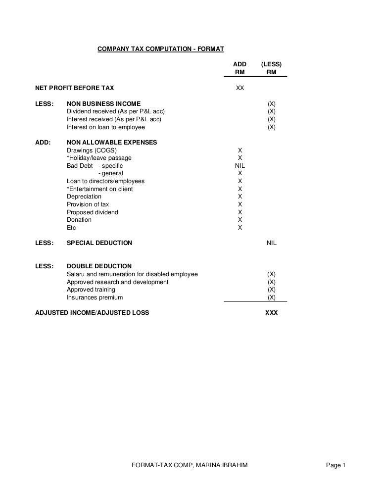 company tax computation format