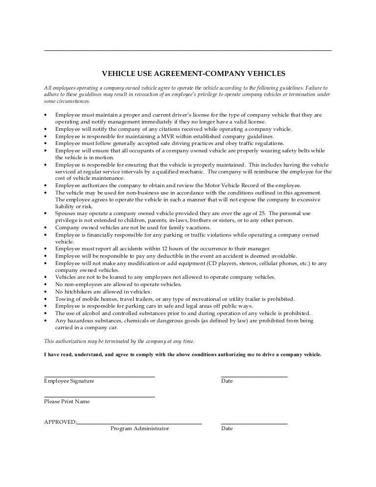 Pany Vehicle Use Agreement