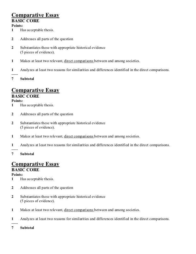 comparative essay points
