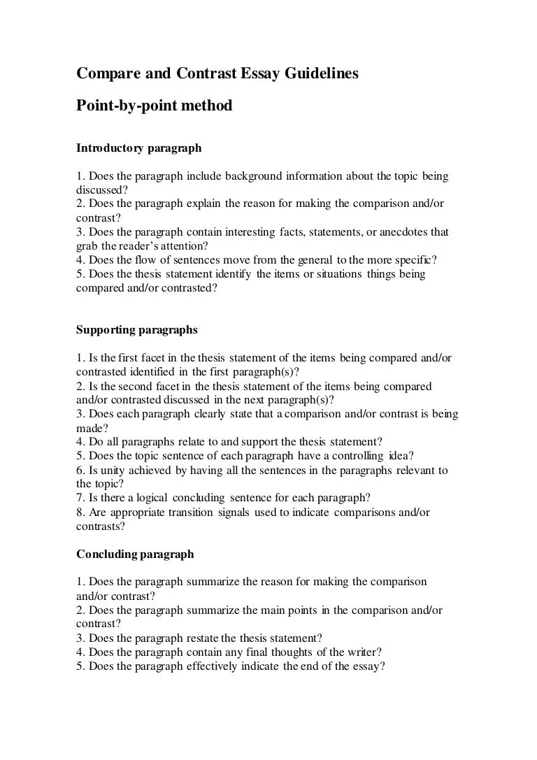 thesis for compare and contrast essay