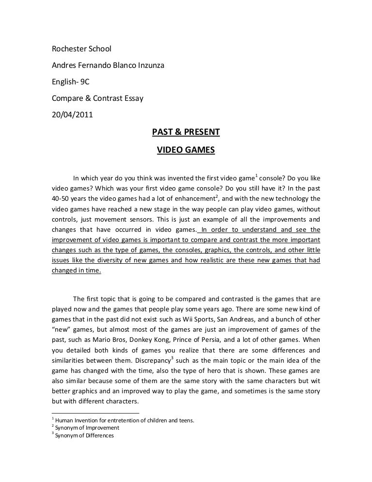 Compare and contrast two sports essay introduction