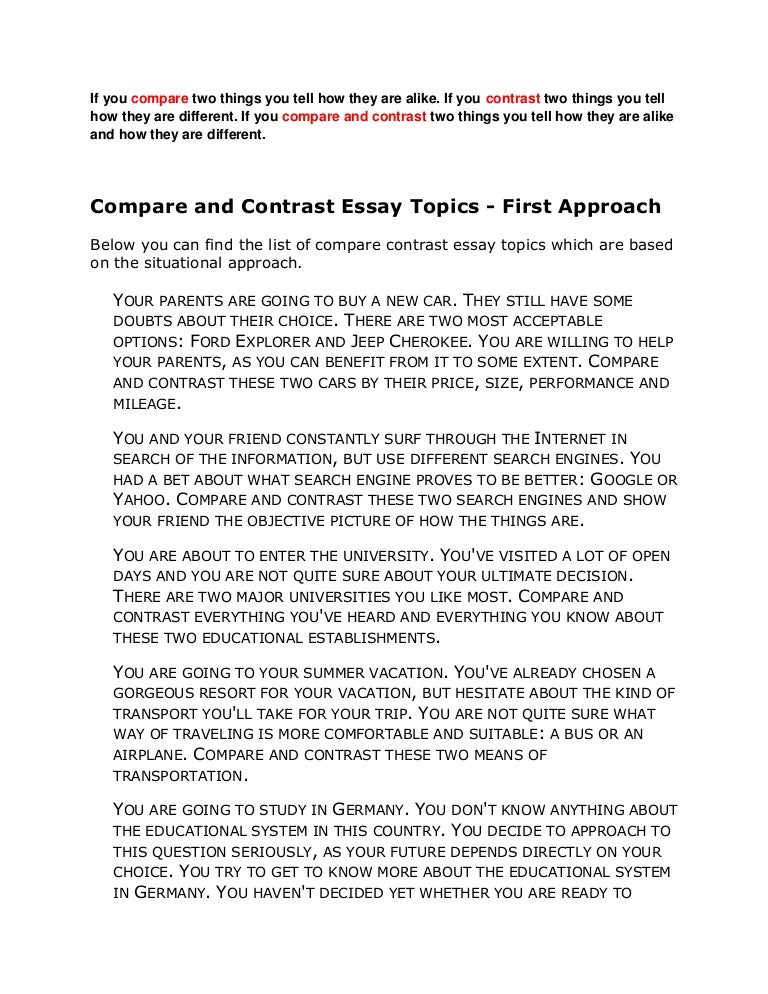 Thesis statement for a compare and contrast essay