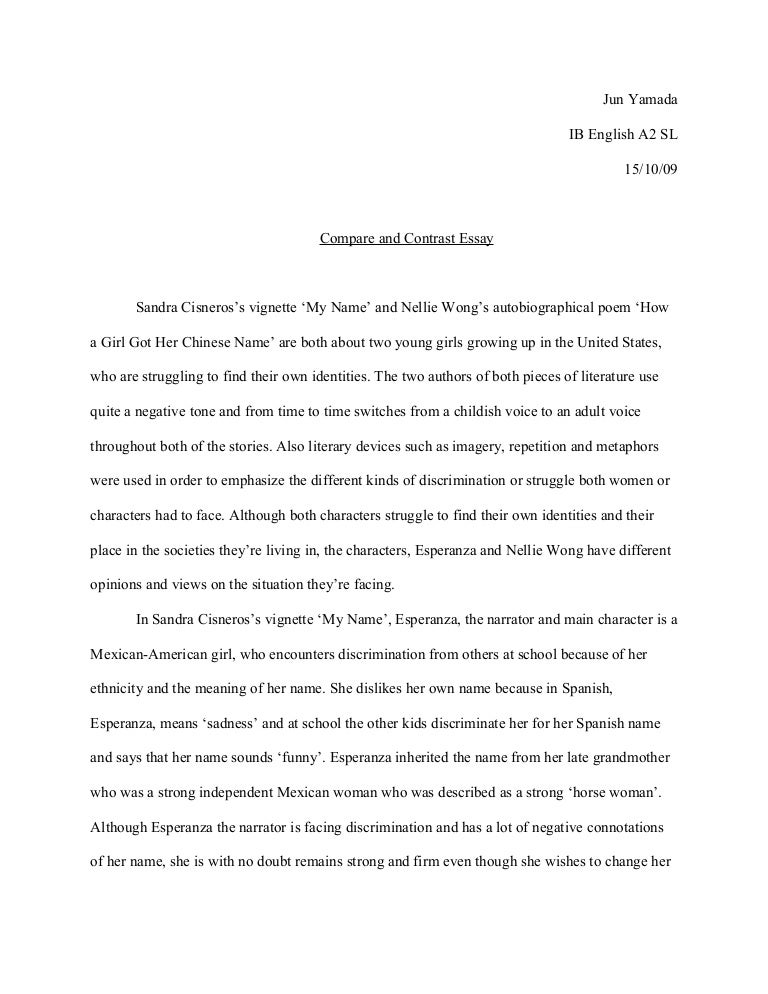 meaning of compare and contrast essay
