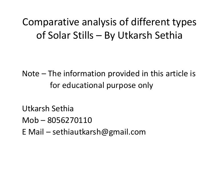 comparitive analysis of different types of solar stills1