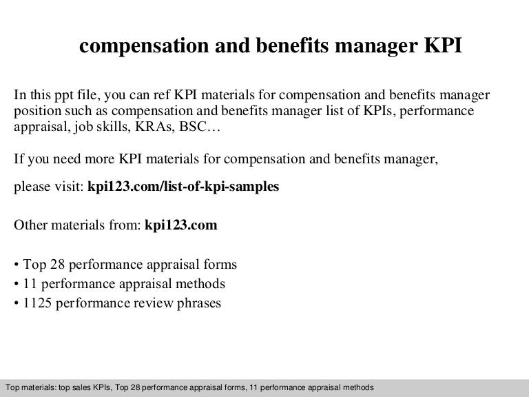 benefits manager job description