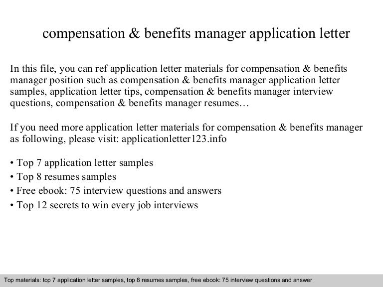 Compensation Benefits Manager Application Letter - Medical-employee-benefits-specialist-cover-letter
