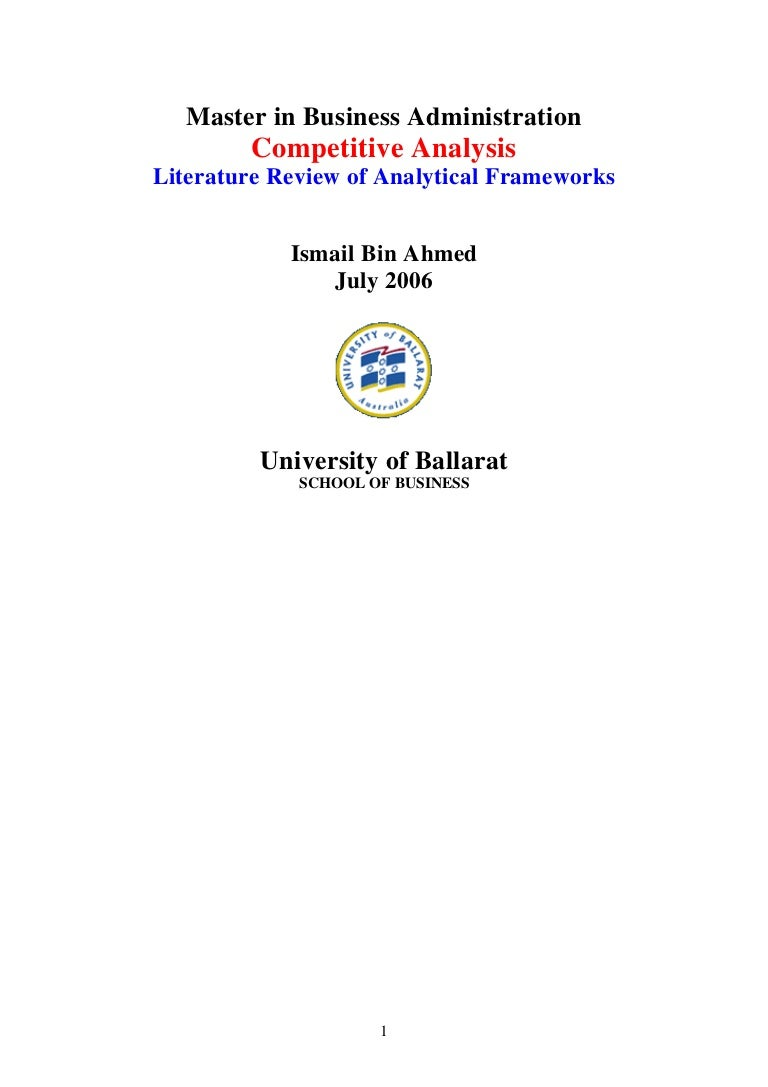 Competitive analysis literature review of analytical frameworks biocorpaavc