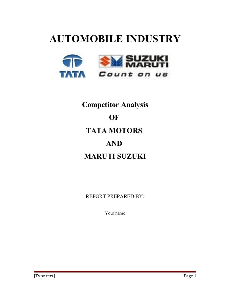 A Project Report On Competitor Analysis Of_Tata_Motors