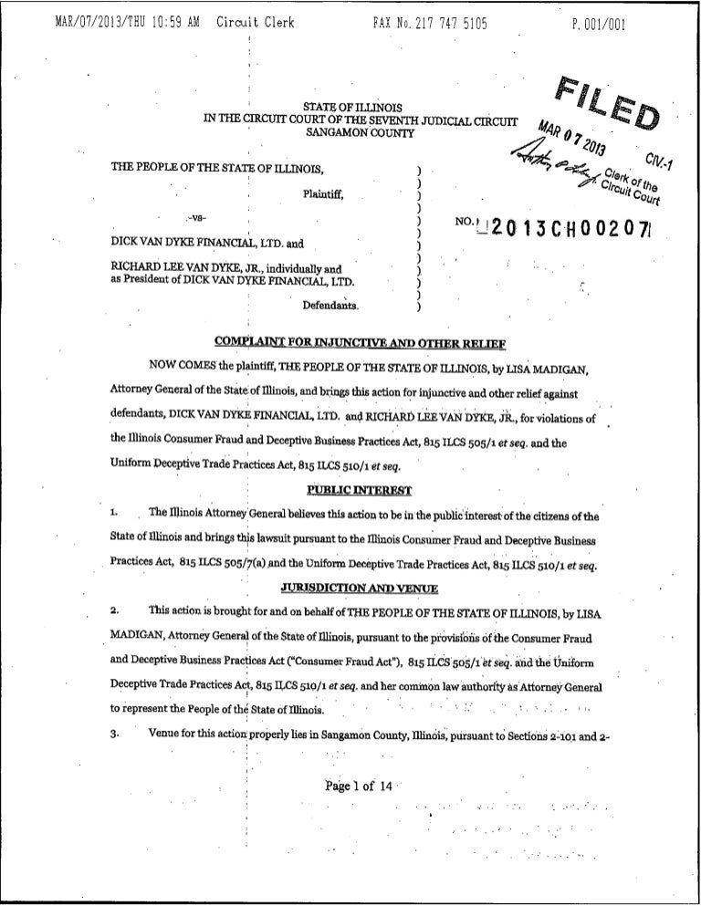 Illinois Complaint Against Financial Advisor Charged With Falsely Adv…