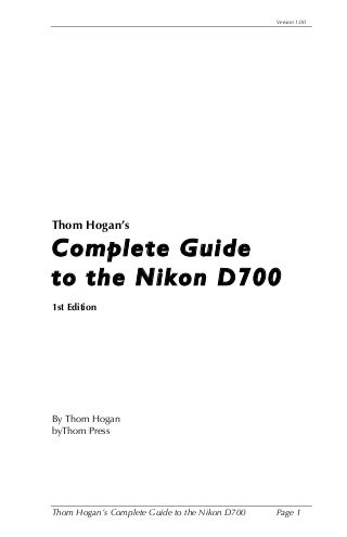 Complete guide to the nikon d700 pdf