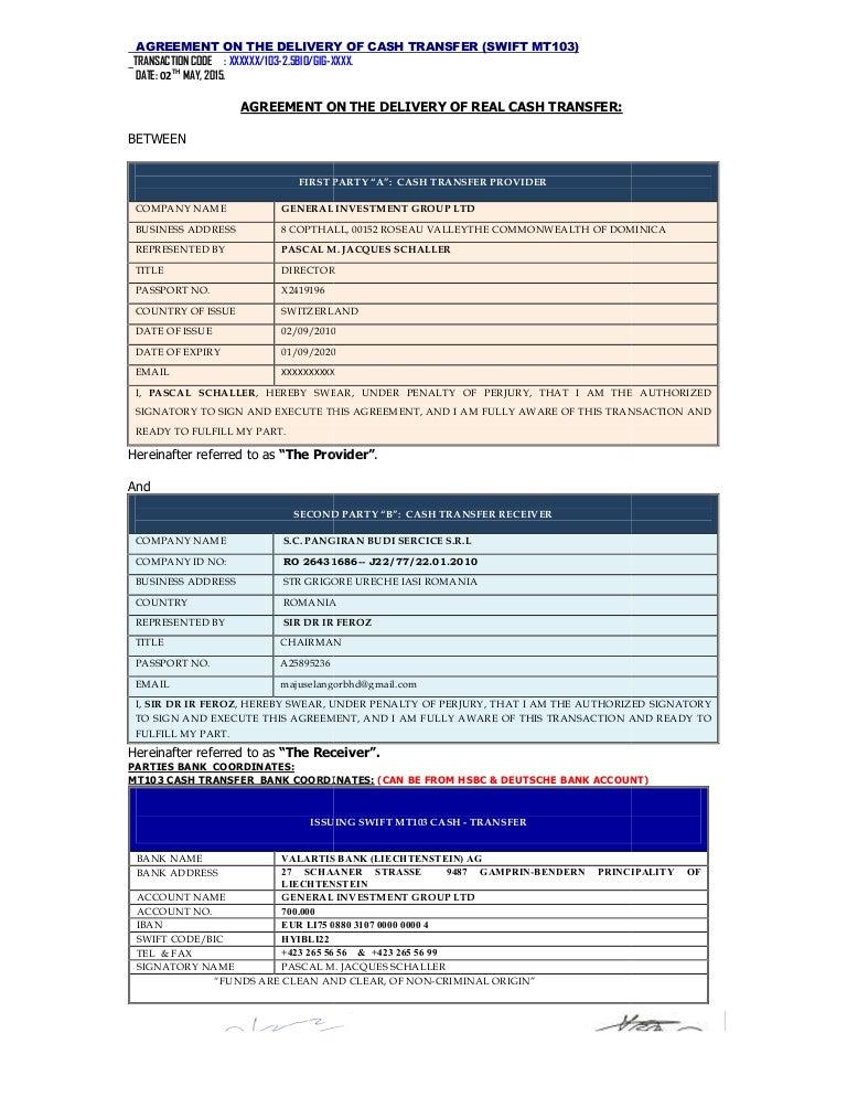 Complete Mou Mt103al Cash Transfer Latest1 1