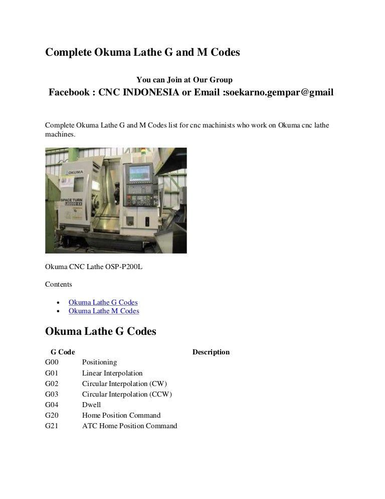 Complete okuma lathe g and m codes