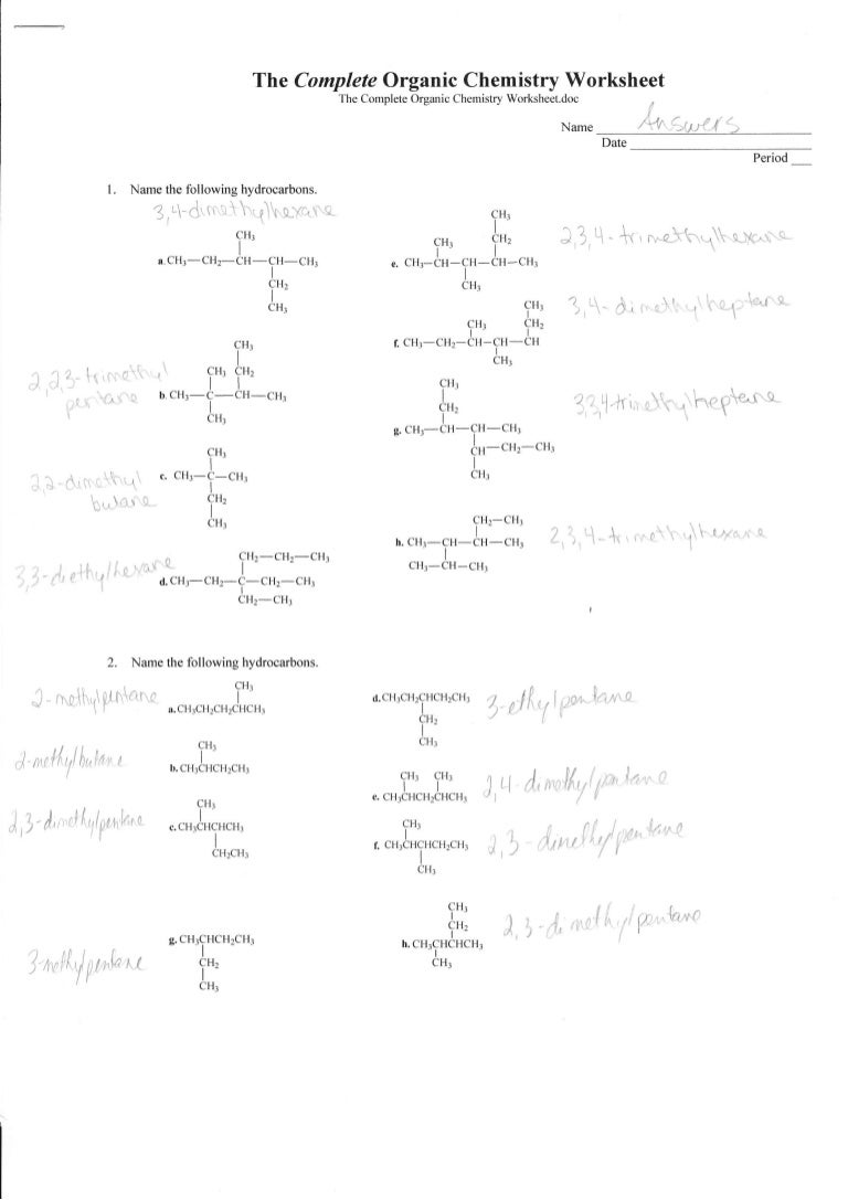 The Complete Organic Chemistry Worksheet The Complete Organic ...