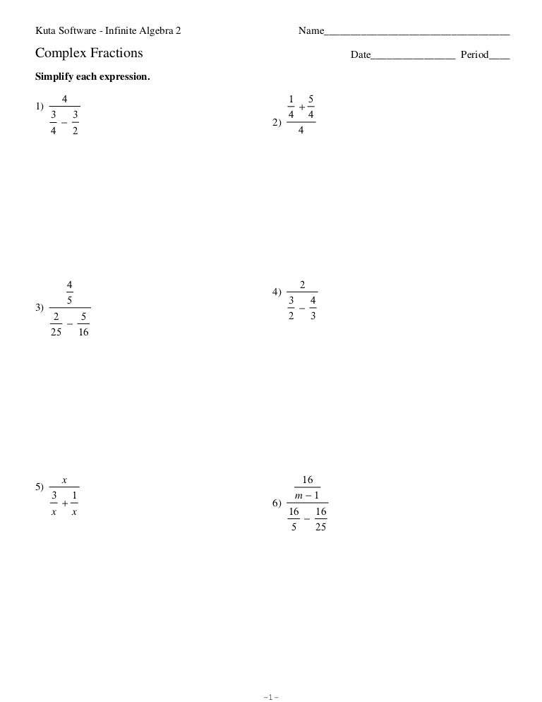 complex fractions worksheets Termolak – Complex Fractions Worksheet