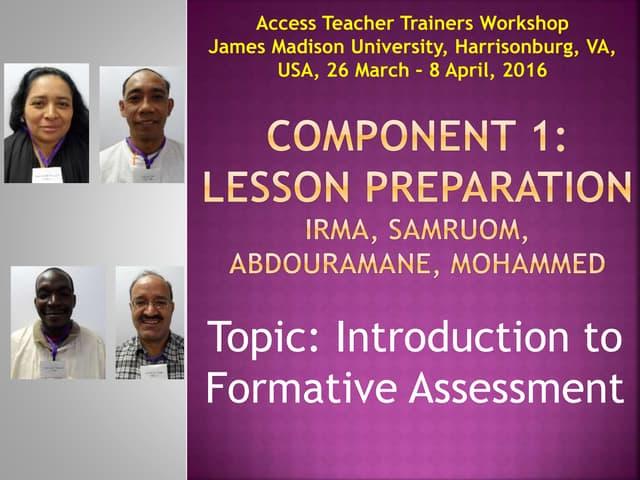 Component 1 lesson preparation final