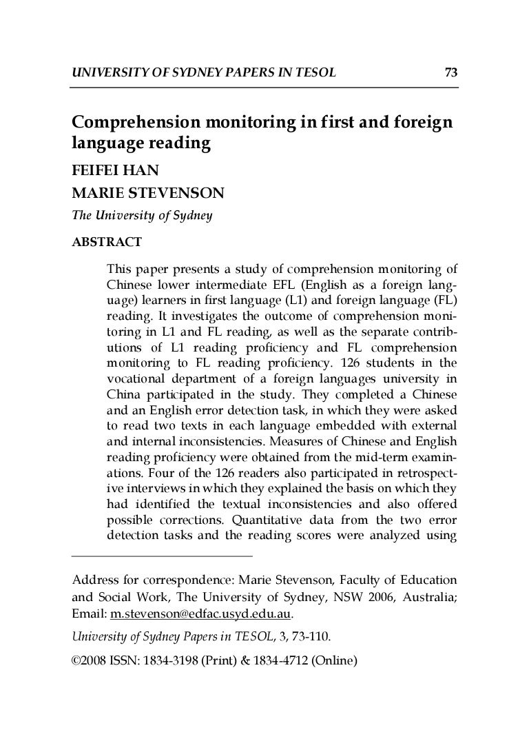 - Comprehension Monitoring In First And Foreign