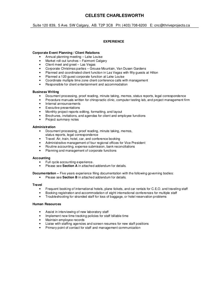sample comprehensive resume