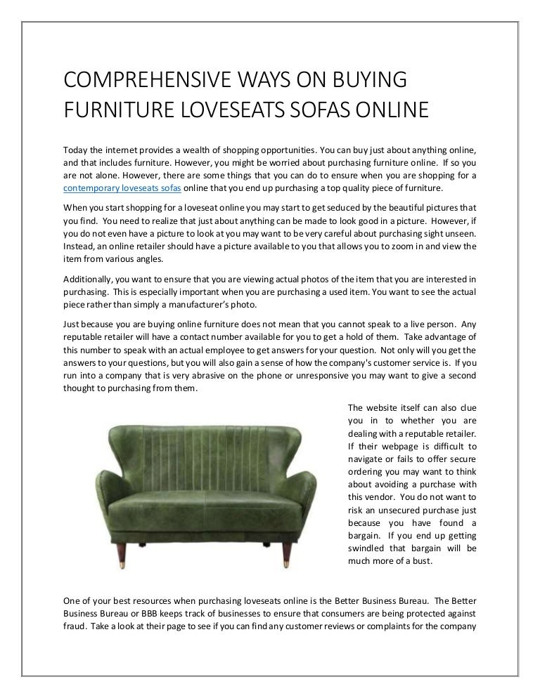 comprehensive ways on buying furniture loveseats sofas online