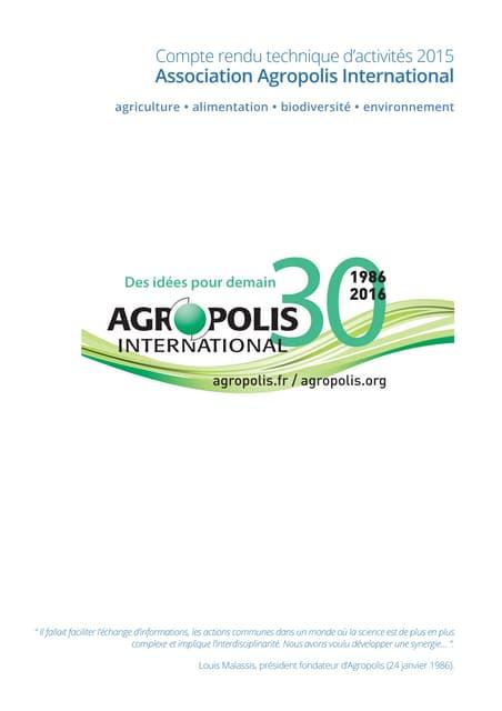 Compte rendu technique d'activités 2015 d'Agropolis International
