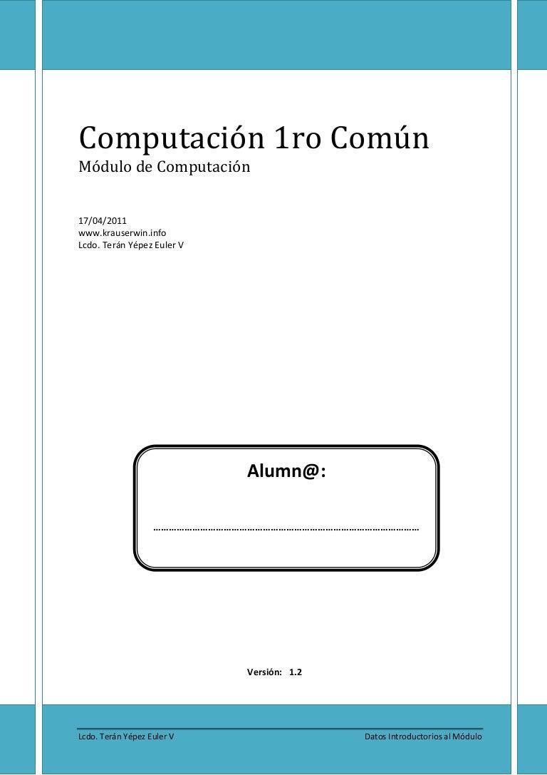 Folleto de Computación para 1ro común