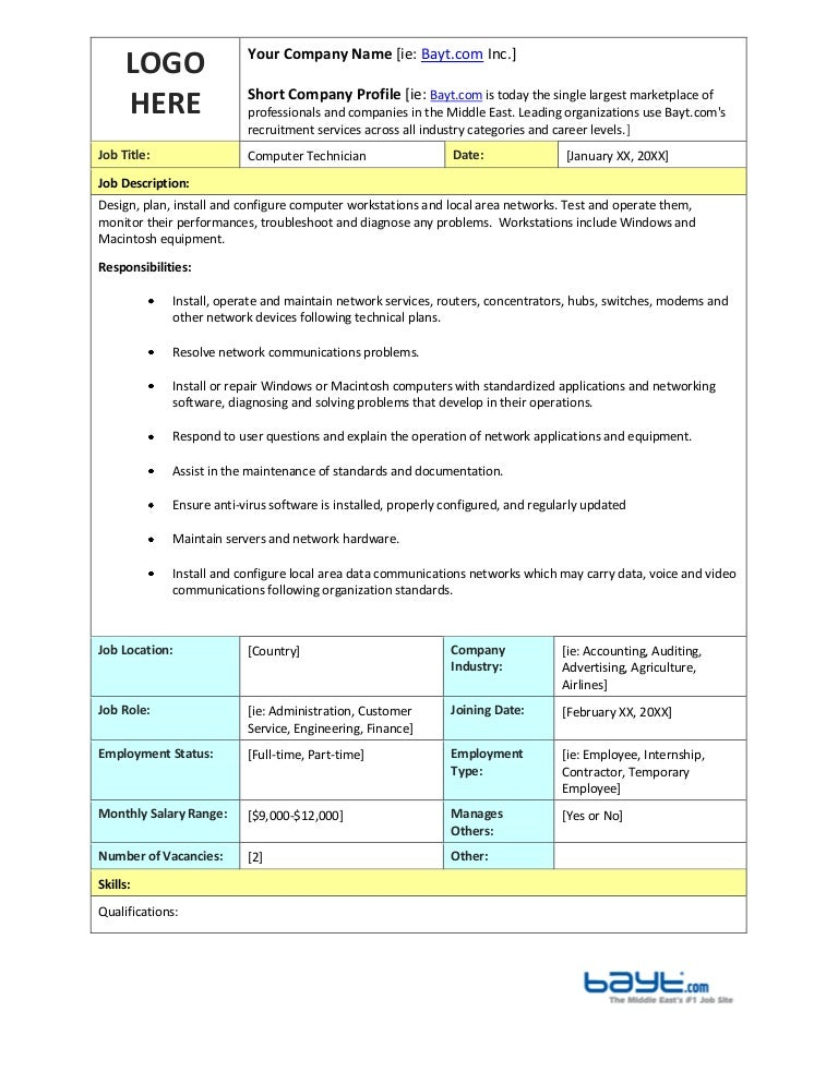 Computer Technician Job Description Template by Bayt.com