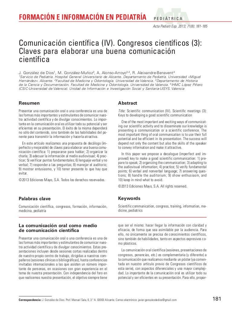 Comunicación científica (iv) comunicación congreso