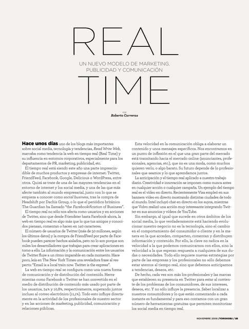 Un nuevo modelo de Marketing, Publicidad y Comunicación: el Tiempo Real