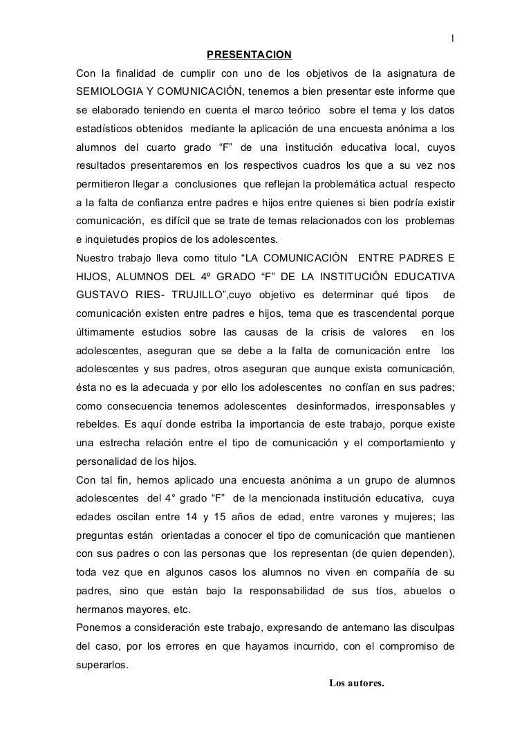 COMUNICACIÓN ENTRE PADRES E HIJOS, ALUMNOS DEL 4º GRADO