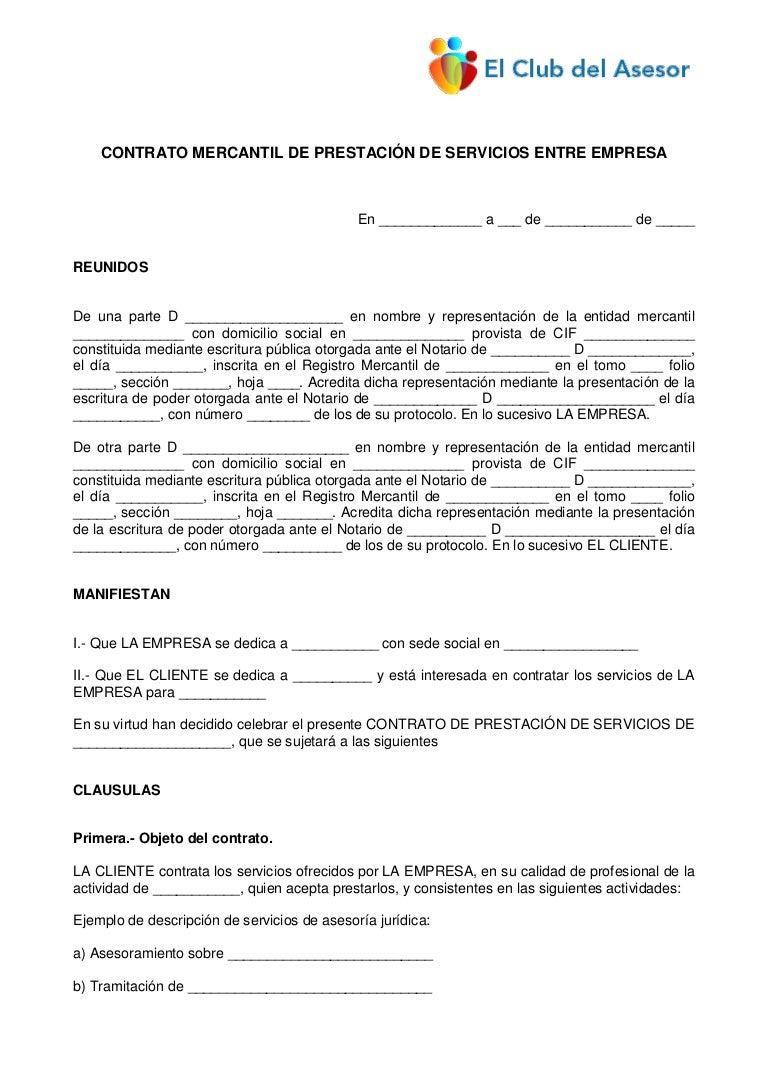Con39 Contrato Mercantil Prestacion Servicios Entre Empresa
