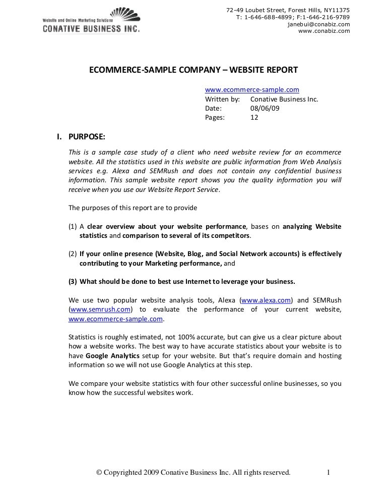 Business analysis report example