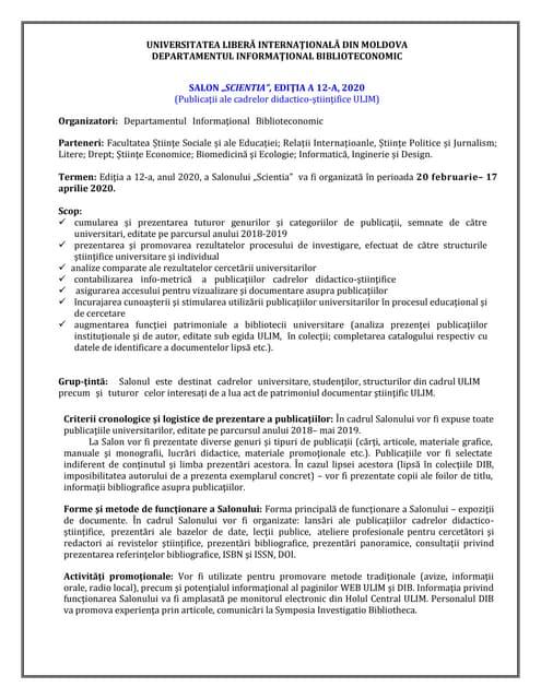 Concept, salon scientia, ed. a 12 a 2020