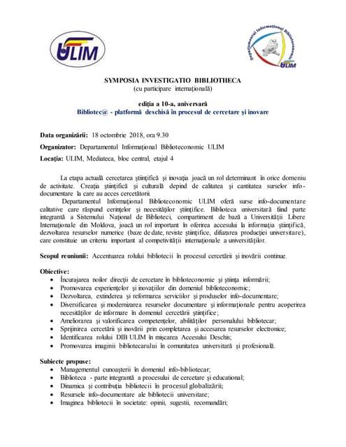 Concept, symposia investigatio bibliotheca, 2018