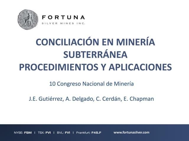 Conciliacion en Minería Subterranea: Procedimientos y Aplicaciones