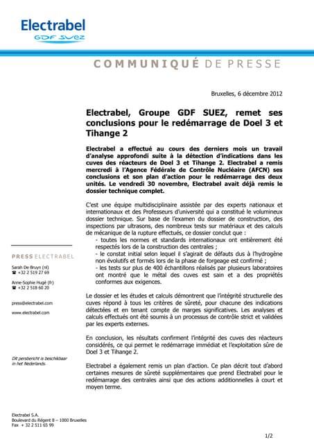 Electrabel, Groupe GDF SUEZ, remet ses  conclusions pour le redémarrage de Doel 3 et  Tihange 2