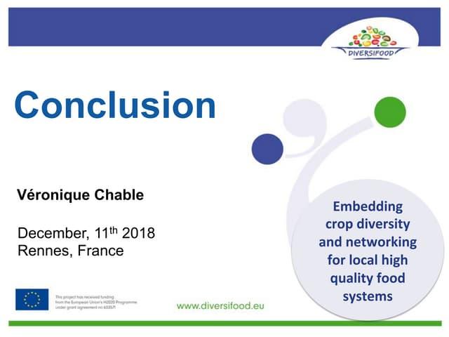 DIVERSIFOOD Final Congress - Conclusion - Véronique Chable