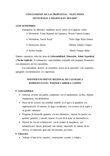 Conclusiones del PANEL FORUM 12 - 13 de Setiembre