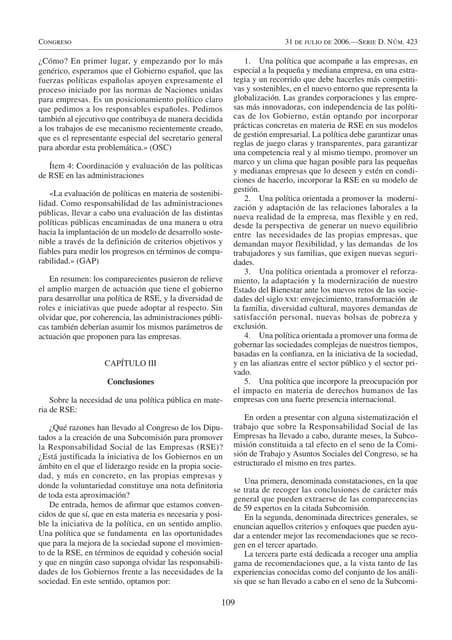 Conclusiones (a partir de la página 109) libro blanco de la subcomisión parlamentaria para la rsc 2006