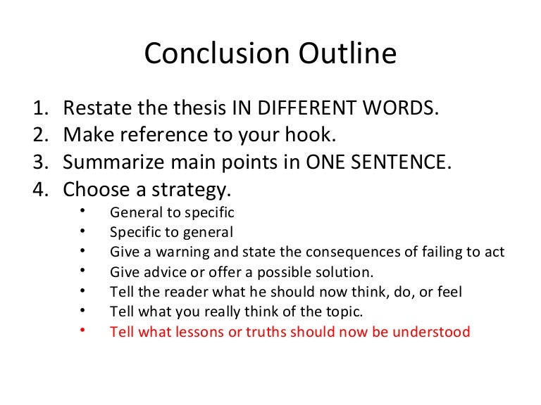 conclusion outline - Conclusion Of Essay Example