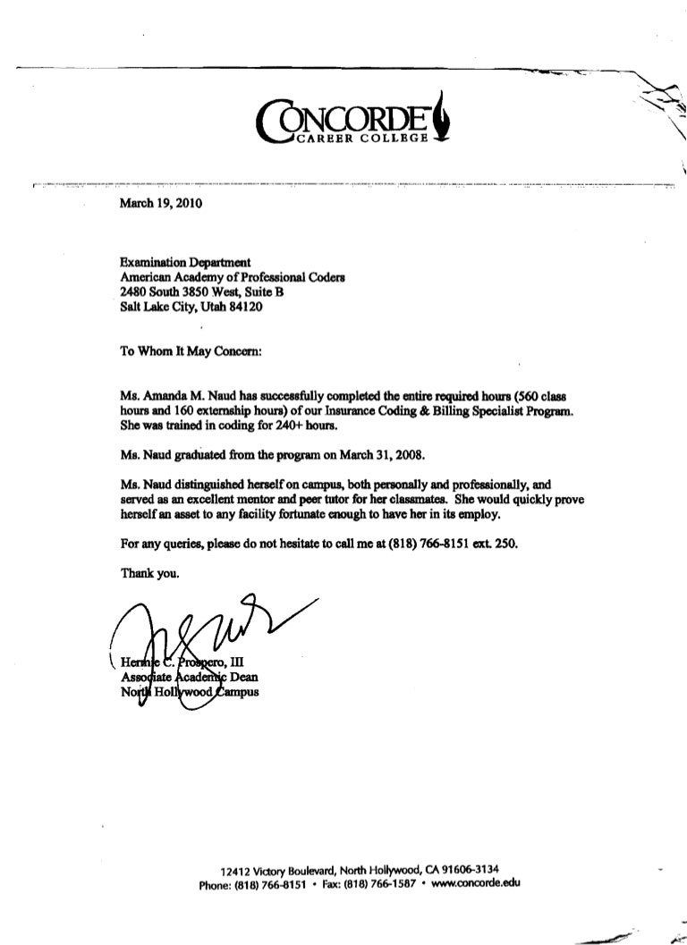 letter format example concorde career college dean letter of recommendation 4896