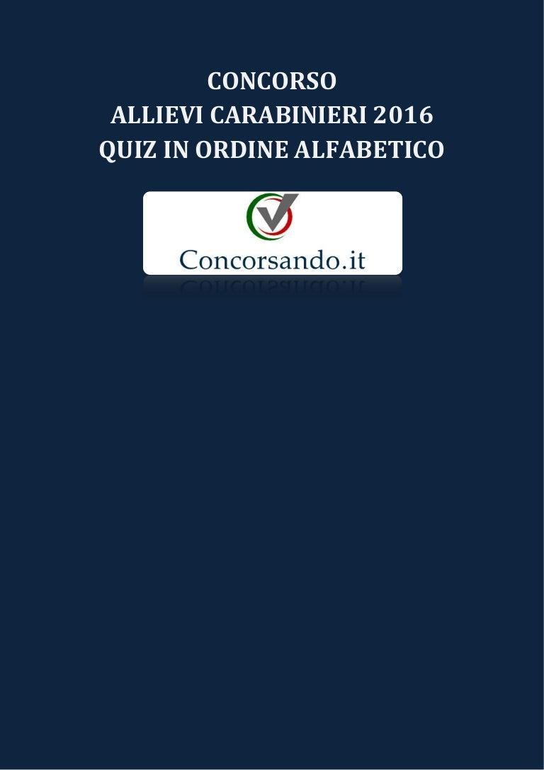 Quiz Ecologia Per Bambini concorso allievi carabinieri 2016 - quiz in ordine alfabetico