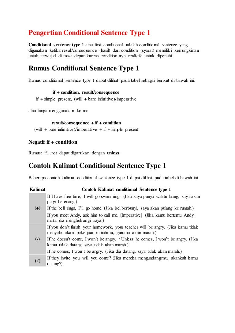 Conditional Sentence Type 1 2 3