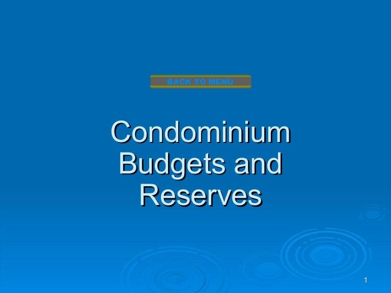 condominium budgets and reserves