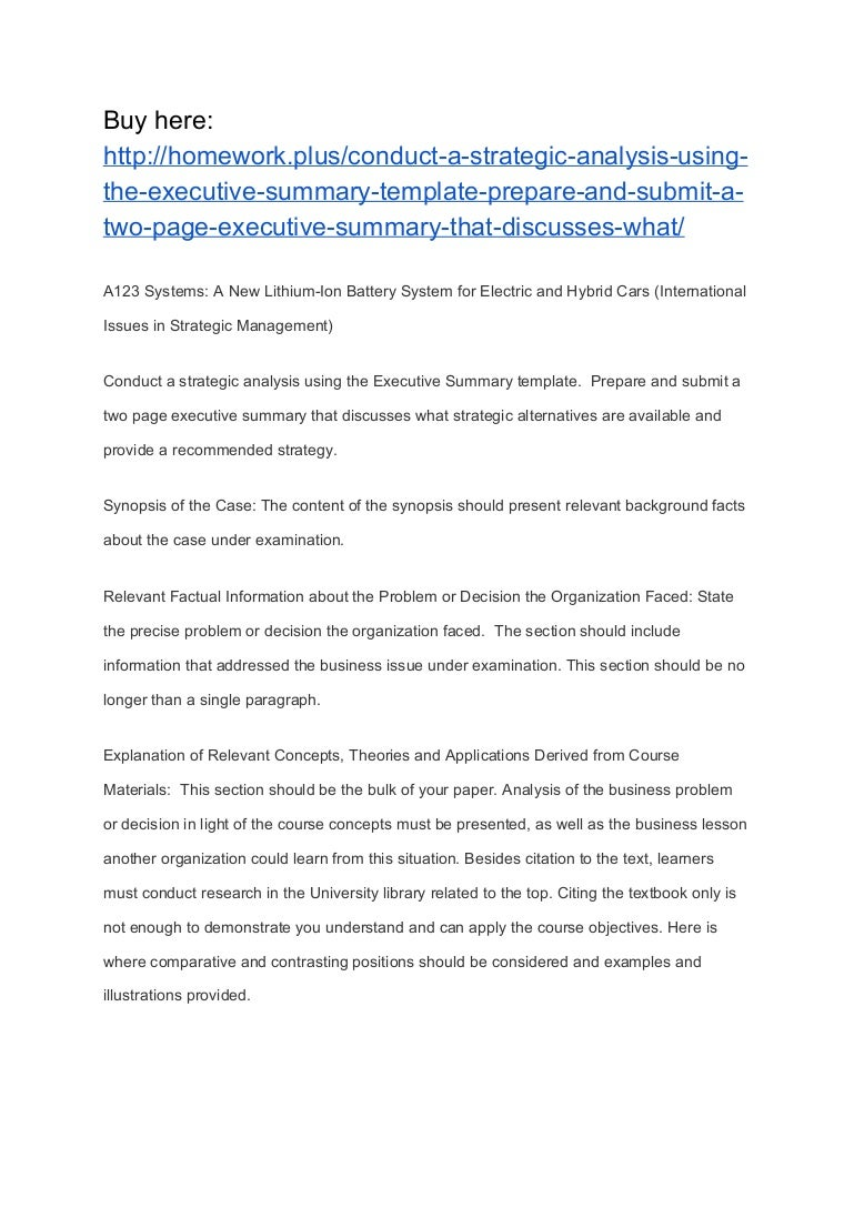 Conduct A Strategic Analysis Using The Executive Summary Template Pr