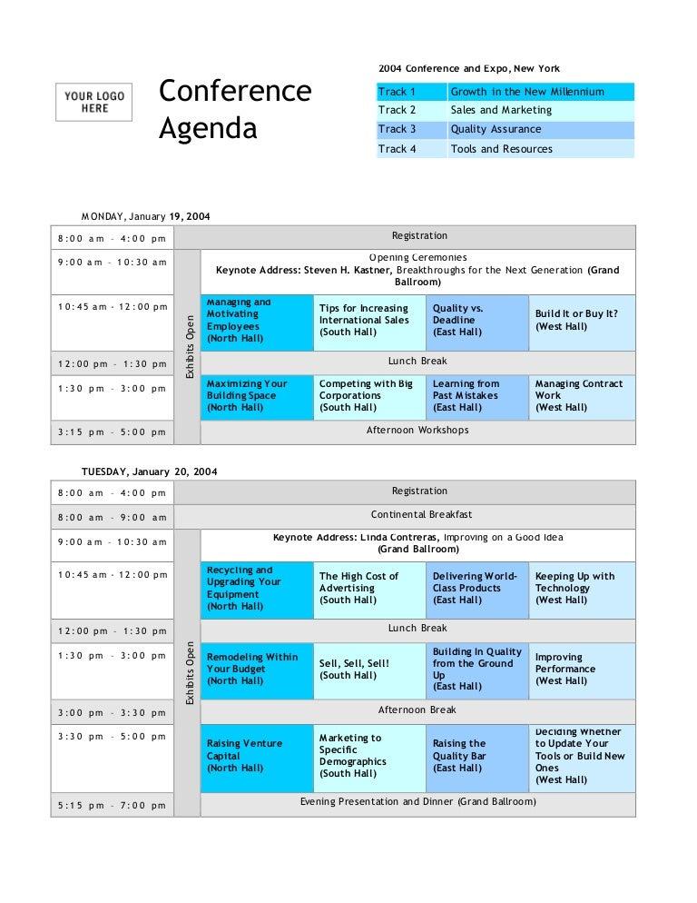 Conference Agenda Template – Conference Agenda