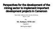 Perspectives for the development of the mining sector to implement important development projects in Cameroon by Mr Rodrique Fotie