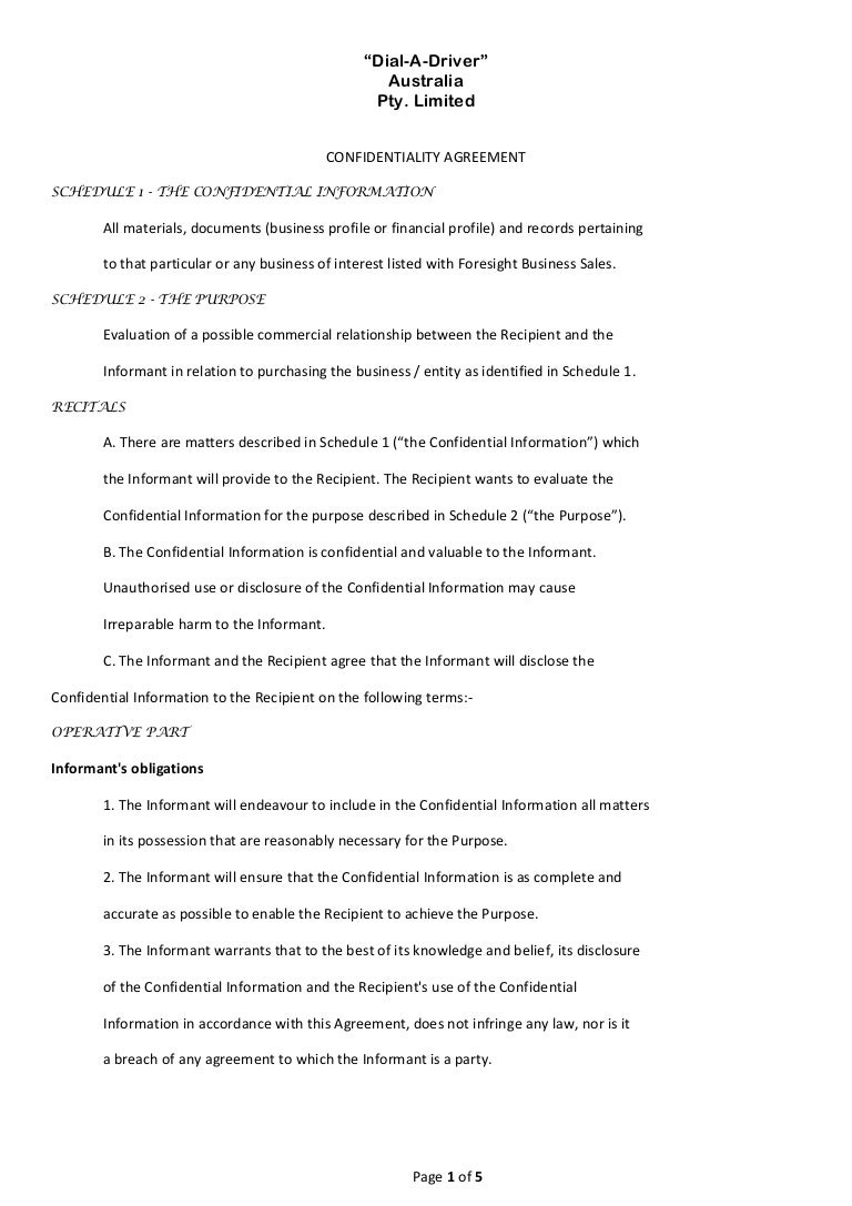 Confidentiality agreement 1 – Financial Confidentiality Agreement