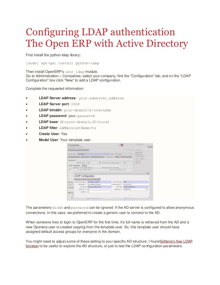 Configuring LDAP authentication on The Open ERP with Active
