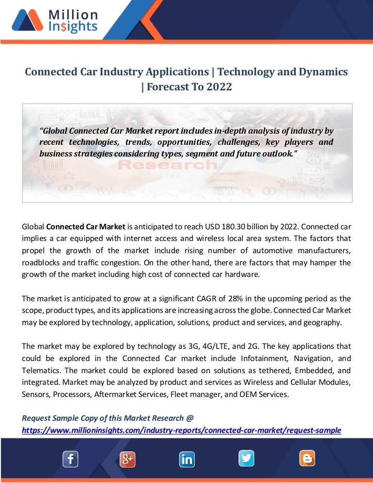 Connected car industry applications technology and dynamics