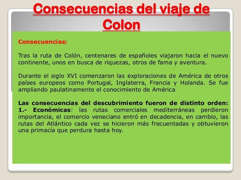 Consecuencias del viaje de colon