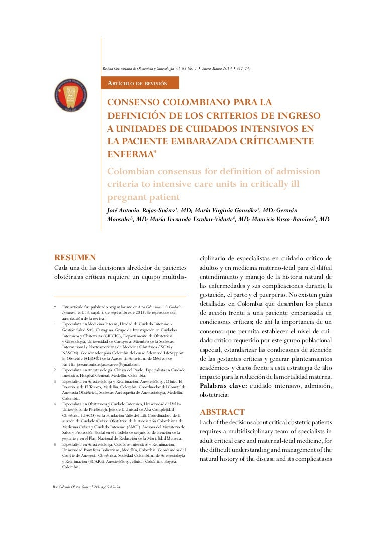 Colombian consensus for definition of admission criteria to intensive…